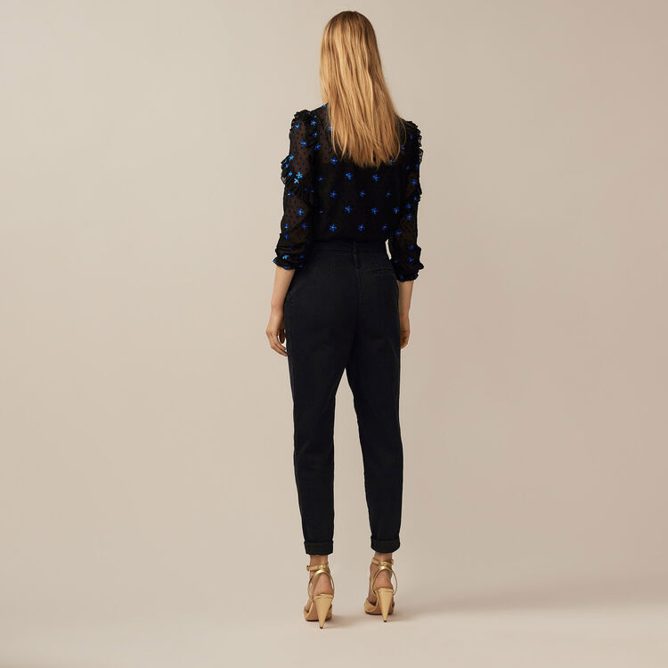 Denim trousers with darts : Trousers color Black 210