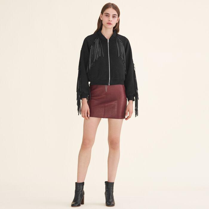 Bomber style jacket with fringing - Jackets - MAJE