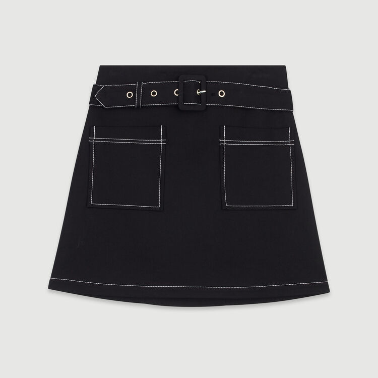 Short skirt with stitched detailing : Skirts & Shorts color Black 210