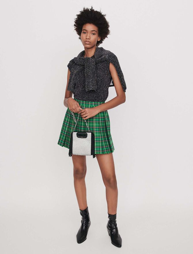 Pleated plaid trompe-l'oeil shorts - Best Sellers - MAJE