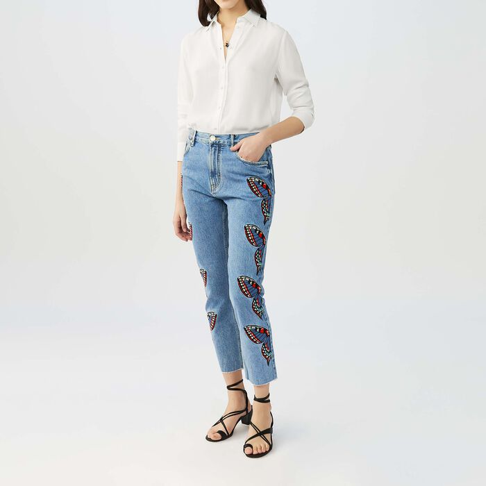 Straight cut jeans with embroidery : Jeans color Denim