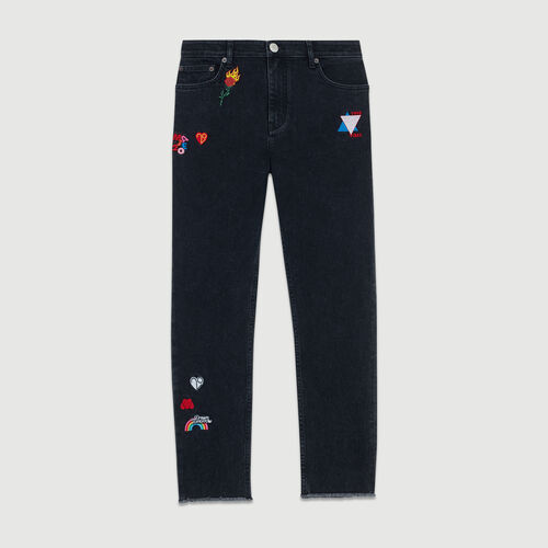 Embroidered straight jean : Jeans color Grey