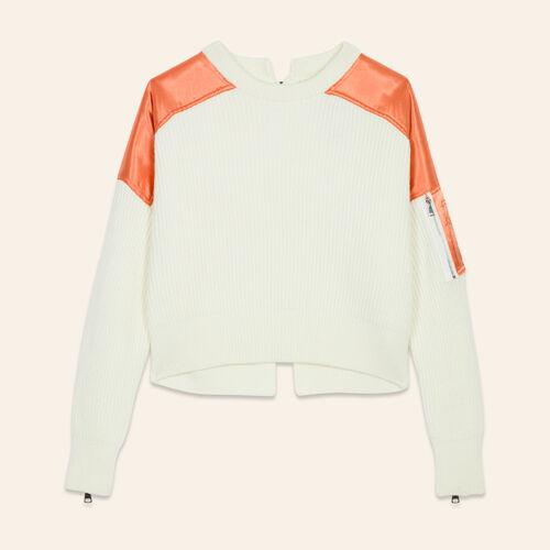 Cropped jumper in full cardigan rib : Sweaters & Cardigans color Ecru