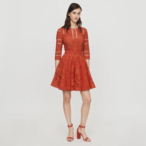Short dress in guipure : Dresses color Pink