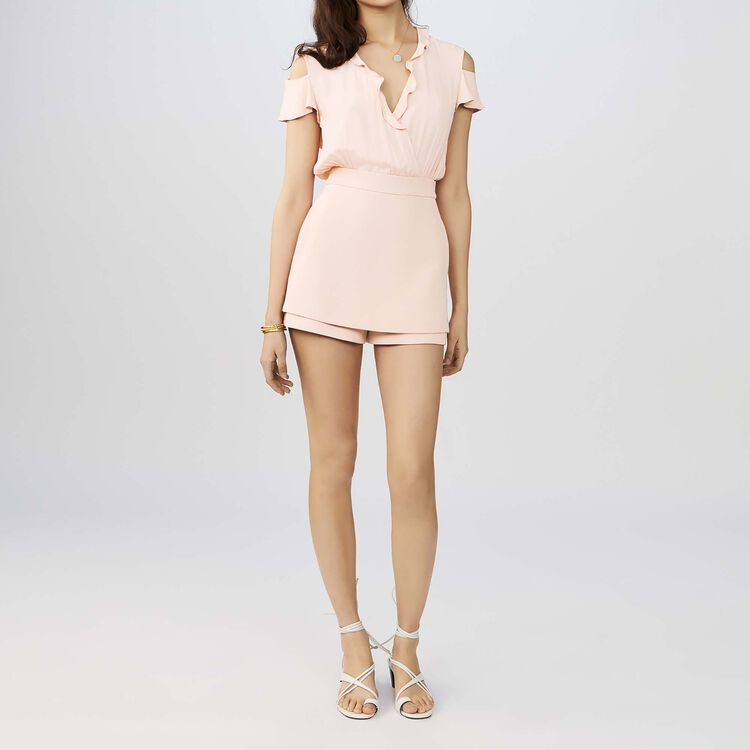 Crepe and silk romper : Skirts & Shorts color Pink
