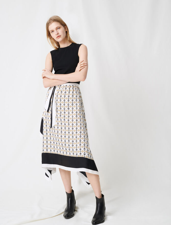 Black dress with scarf-style motifs - Dresses - MAJE
