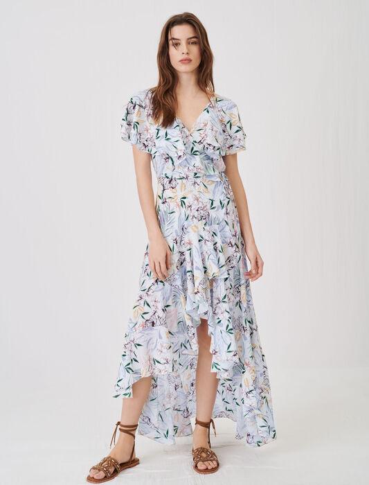 Asymmetrical printed satin dress : Dresses color White Jungle