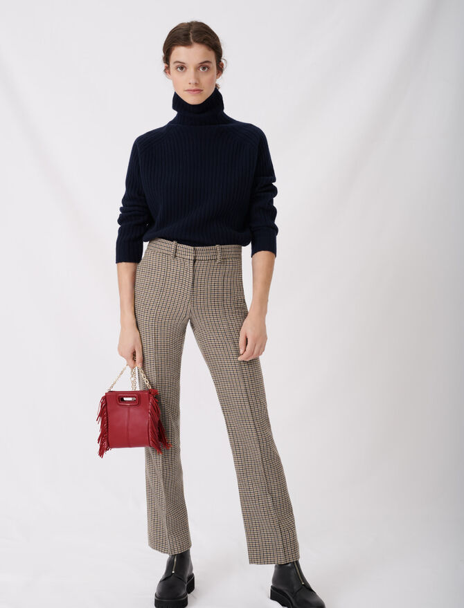 Straight cut checked trousers - tout voir - MAJE