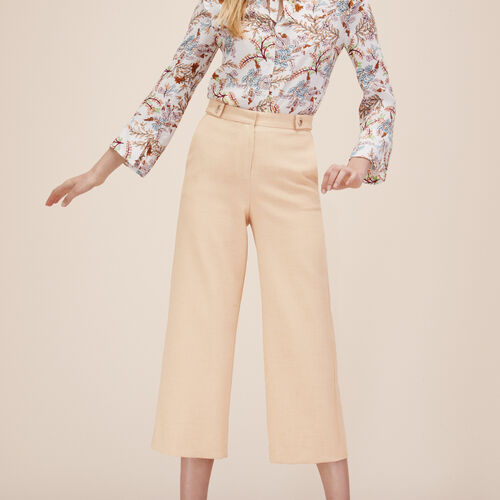 Wide cropped trousers : Trousers & Jeans color Nude