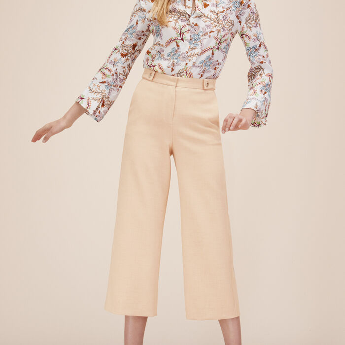Wide cropped trousers -  - MAJE