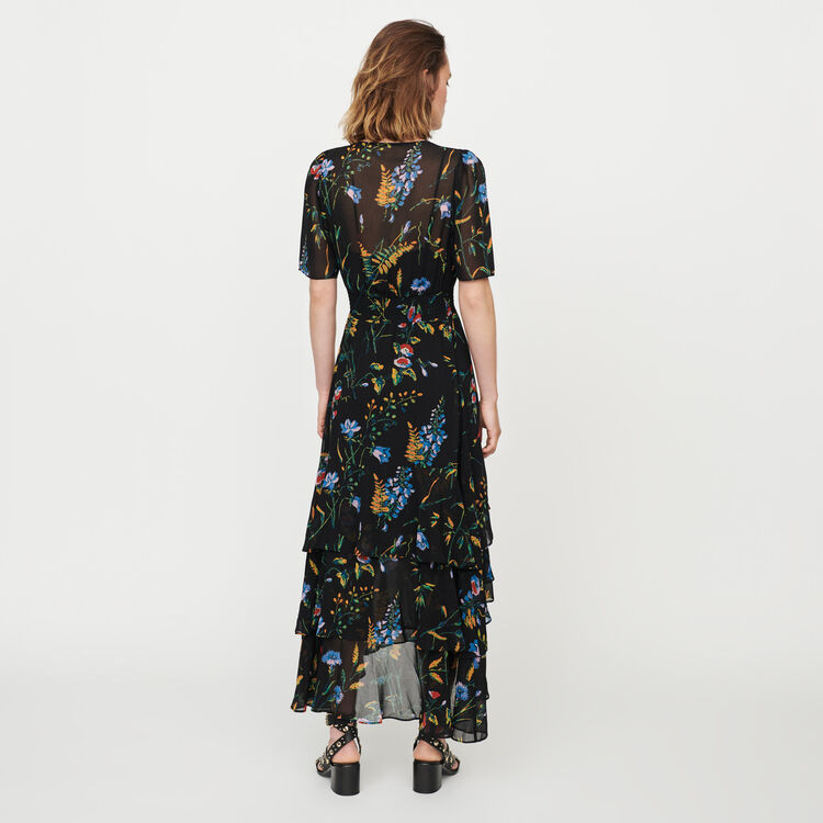 Printed long dress with ruffles : Dresses color Black