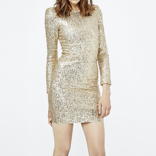 Close-fitting dress with golden sequins : Dresses color Gold