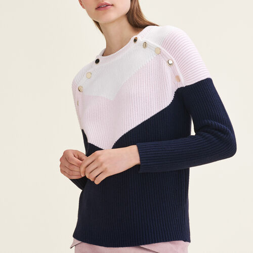 Tricolour jumper with press studs - New collection - MAJE