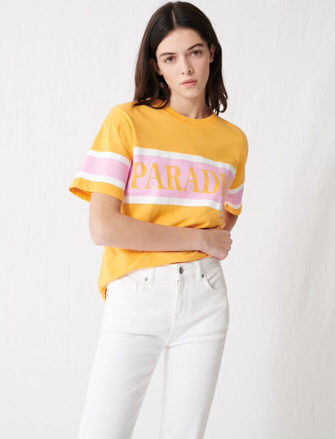"T-shirt with ""Paradise"" screen print -  - MAJE"