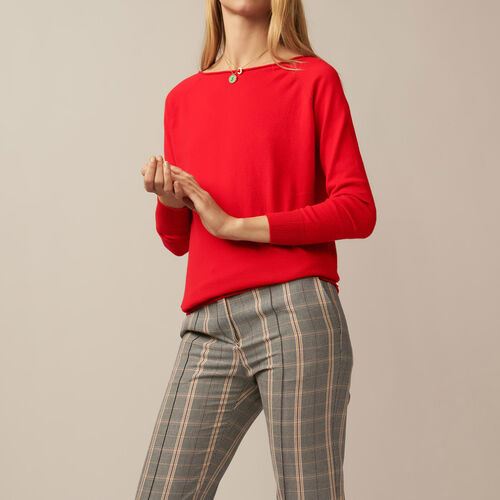 Jumper with low neckline at the back : Knitwear color ROUGE