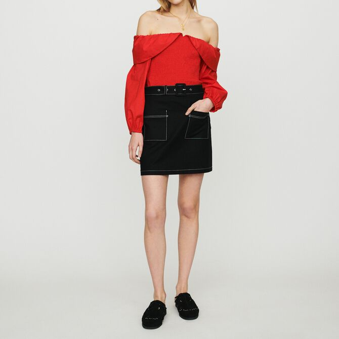 Short skirt with stitched detailing - See all - MAJE