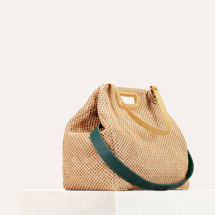 Raffia and leather tote bag : null color NATURELS