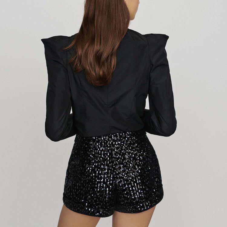Taffeta top with shoulder detailing : Tops color Black 210