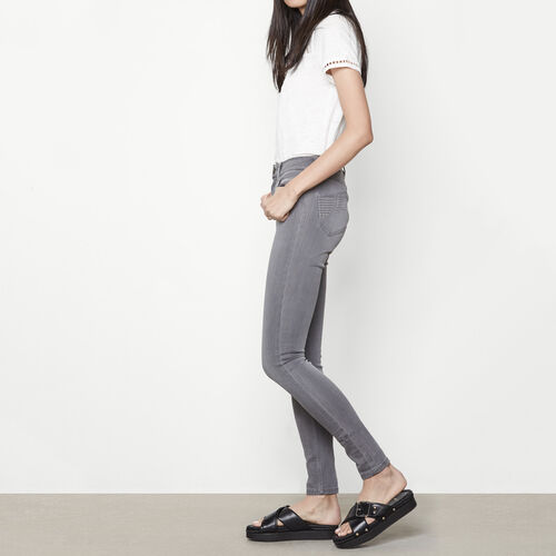 Embroidered high-waisted skinny jeans : Trousers & Jeans color Grey