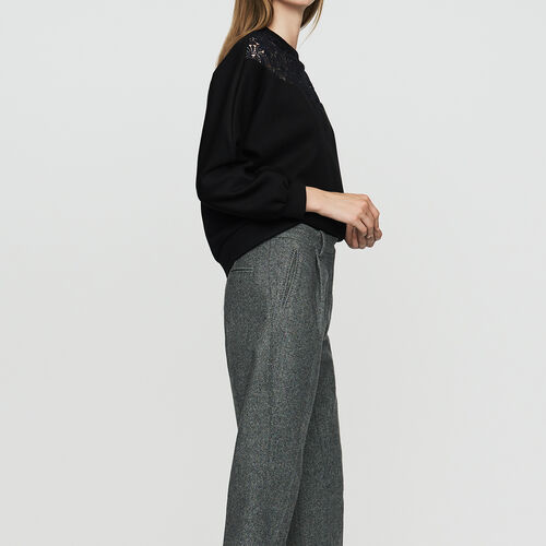 Wool-blend twill pants : See all color Grey
