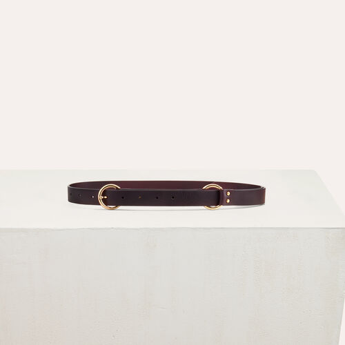 Belt with a mettalic ring : Accessories color Burgundy