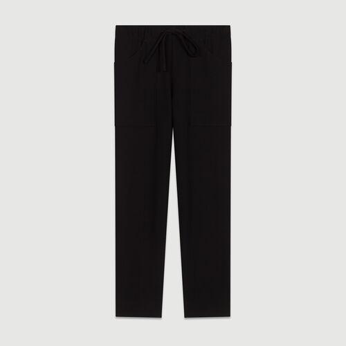 Crepe wide leg pants : Trousers color Navy