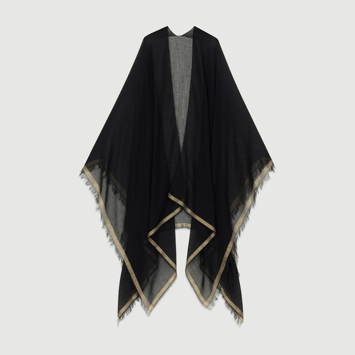 Lurex striped poncho : Shawls & Ponchos color Black 210