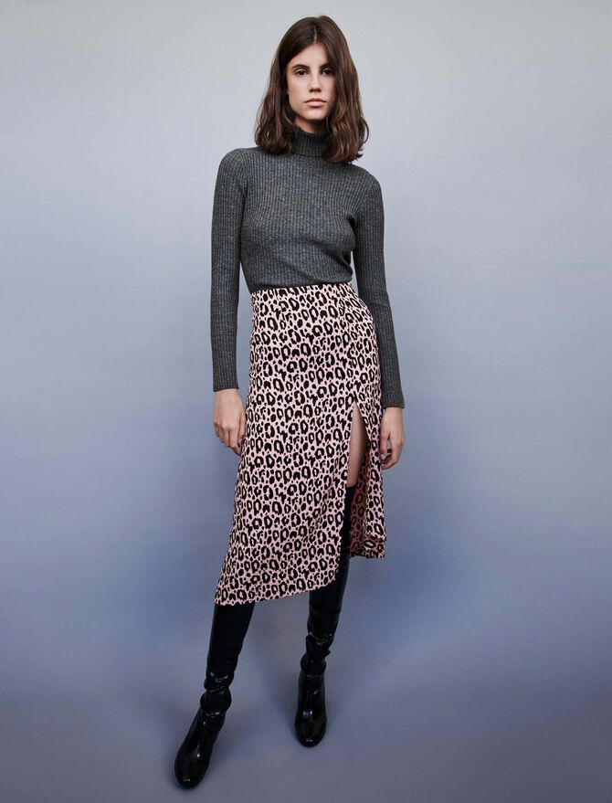 Jacquard-printed split skirt - -40% - MAJE