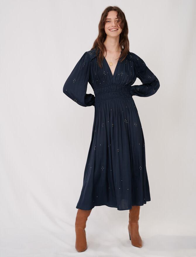 Long parachute dress with rhinestones -  - MAJE