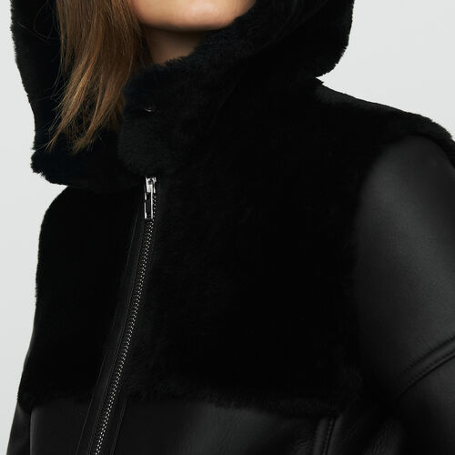 Long shearling coat with mixed material : Ready to wear color Black 210