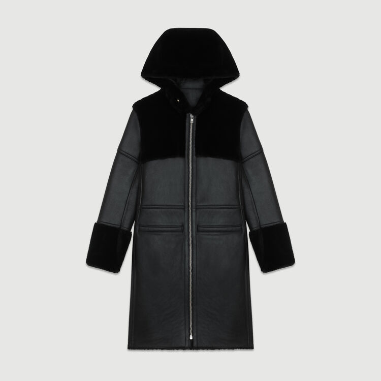 Long shearling coat with mixed material : Coats color Black 210
