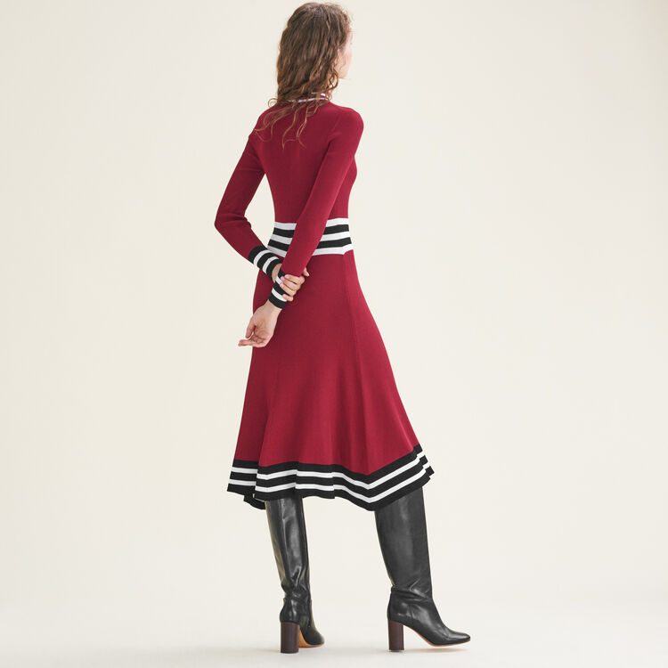 Long rib-knit dress : Dresses color Burgundy