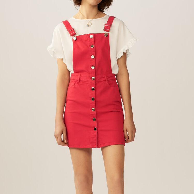 Denim jumpsuit : Dresses color ROUGE