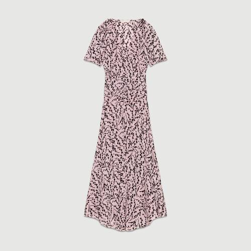 Long printed silk dress : Dresses color PRINTED