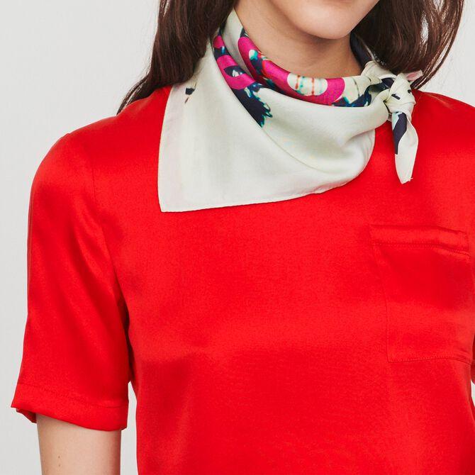 Bimaterial T-shirt - SoldesCH-T-shirts - MAJE