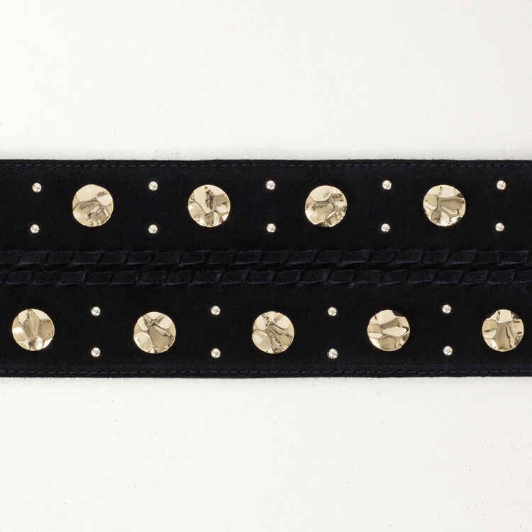 High-waisted suede belt with studs : Belts color Black 210