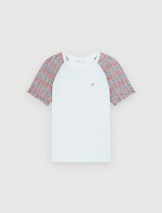 Jersey T-shirt with tweed sleeves : Tops & Shirts color Ecru