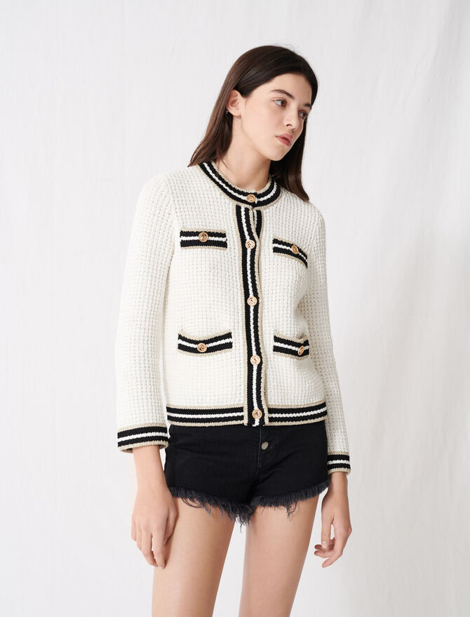 Knit cardigan with contrasting bands - Knitwear - MAJE