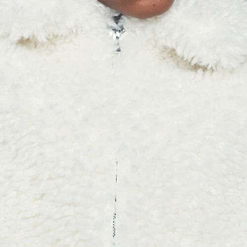 Cropped faux shearling jacket : New Collection color White