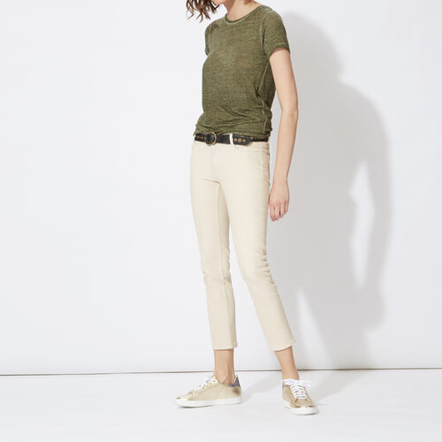3/4-length jeans in faded stretch cotton : Trousers & Jeans color Chalk