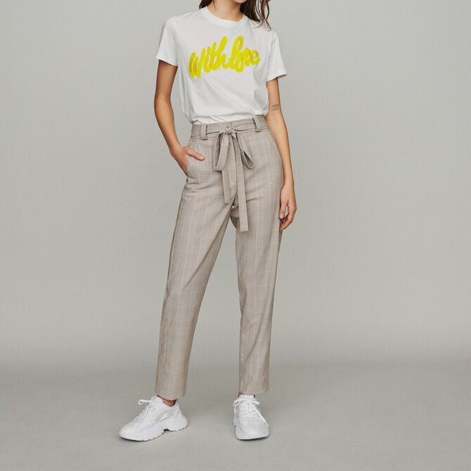 Belted checked trousers - See all - MAJE
