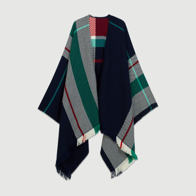 Jacquard poncho : Knitwear color Blue