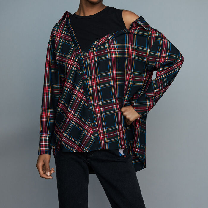 Deconstructured plaid skirt : Shirts color CARREAUX