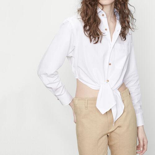 Asymmetric tie shirt : Tops color White
