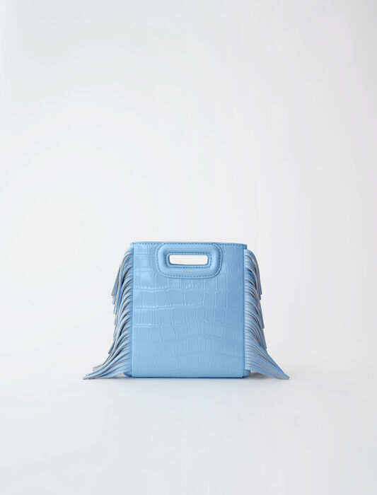 Mini embossed-leather M bag with chain : M bags color Blue Sky