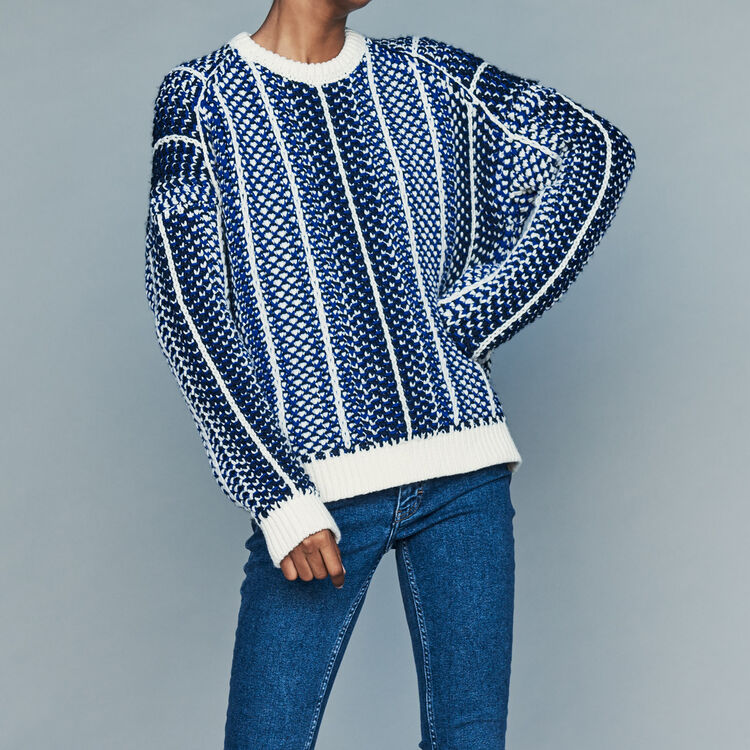 Jacquard knit sweater : Knitwear color Blue