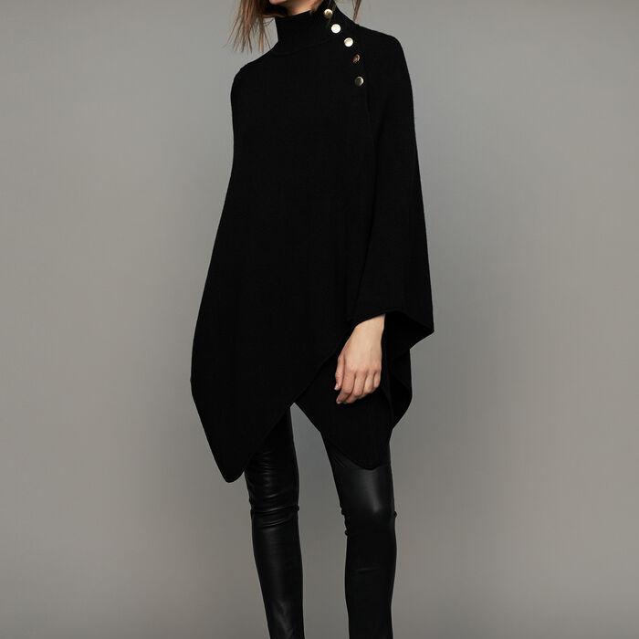 Funnel collar poncho in wool blend : Shawls & Ponchos color Black 210