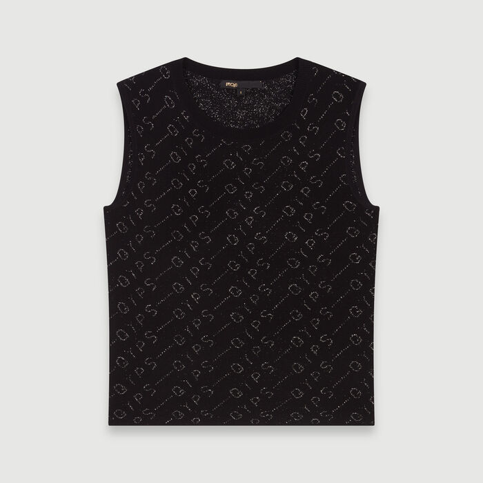 Lurex jacquard sleeveless sweater : Knitwear color Black