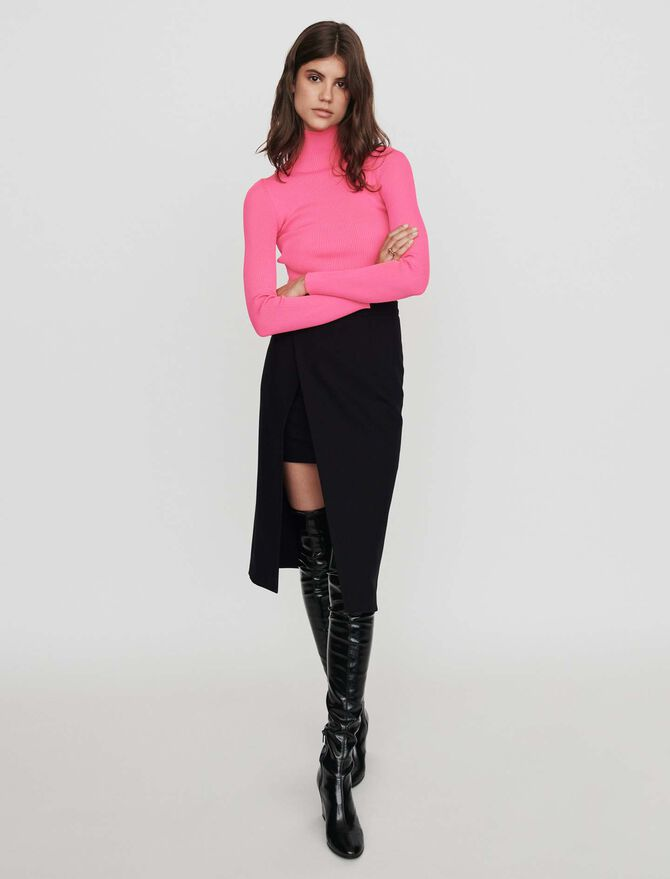Calf-length split pencil skirt - Skirts & Shorts - MAJE