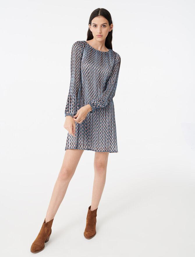 Pleated lurex jacquard print dress - Dresses - MAJE